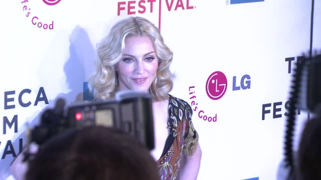 madonna at the 7th annual tribeca film festival i am because we are premiere at borough of manhattan community college / tribeca performing arts in... - community college stock videos & royalty-free footage