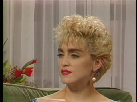 """of madonna during an interview """"image and, like, a good hook gets you in the door but something has to keep you in the room. and, uh, all the bad... - singer stock videos & royalty-free footage"""