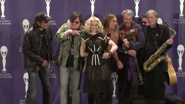 madonna iggy pop and the stooges at the 23rd annual rock and roll hall of fame induction ceremony press room at the waldorf astoria in new york new... - hall of fame stock videos and b-roll footage