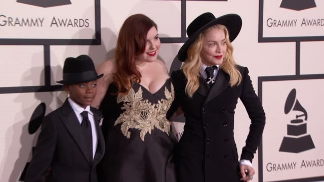 madonna, mary lambert and david banda mwale ciccone ritchie at the 56th annual grammy awards - arrivals at staples center on in los angeles,... - grammy awards stock videos & royalty-free footage
