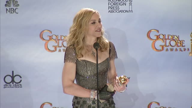 madonna on how she's dancing to keep in shape now at 69th annual golden globe awards - press room on 1/15/2012 in beverly hills, ca. - マドンナ点の映像素材/bロール