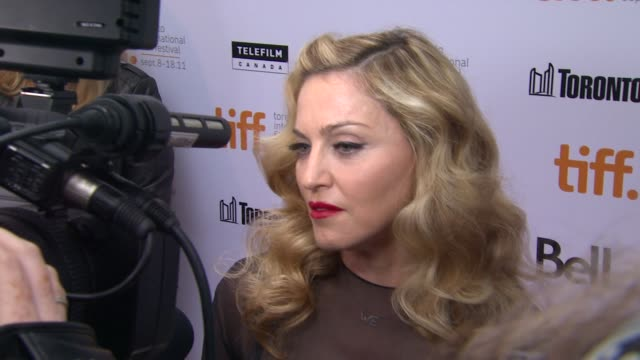 madonna on if the music or film industry is more difficult for powerful women at the 'w.e' premiere - 2011 toronto international film festival at... - マドンナ点の映像素材/bロール