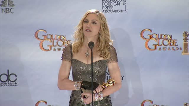 vidéos et rushes de madonna on what fuels her creativity at 69th annual golden globe awards press room on 1/15/2012 in beverly hills ca - interview format raw