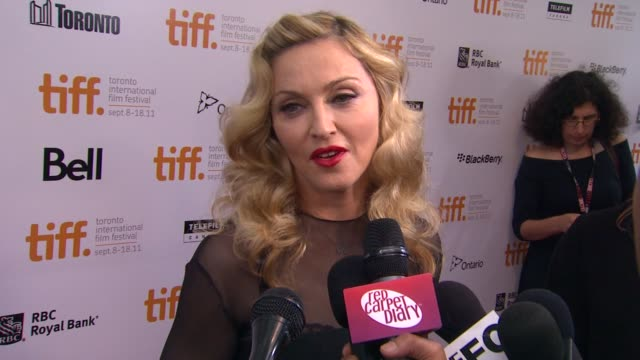 madonna on what she earned from her cast, on directing, on her actors. at the 'w.e' premiere - 2011 toronto international film festival at toronto on. - マドンナ点の映像素材/bロール