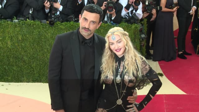 madonna riccardo tisci at manus x machina fashion in an age of technology costume institute benefit gala arrivals at metropolitan museum of art at... - manus x machina: fashion in an age of technology stock videos and b-roll footage