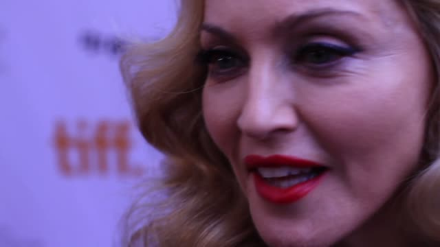 madonna with advice for people getting married at the 'w.e' premiere - 2011 toronto international film festival - マドンナ点の映像素材/bロール