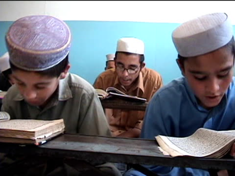 ms madrassa with boys reciting koran landi kotal in riffel agency of tribal zones federally administered tribal areas pakistan audio - madressa stock videos and b-roll footage
