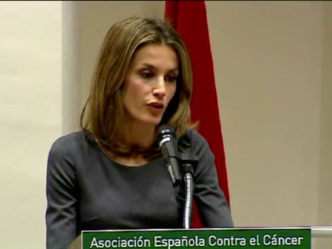 Santiago Castro Princess Letizia wife of Spanish Crown Prince Felipe of Asturias chaired in Madrid a signing ceremony of a campaign against cancer to...