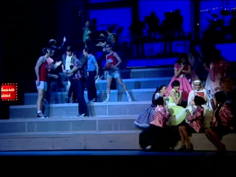 madrid 21 feb forty years after its première in 1972 the longestrunning show in the history of broadway grease returns to the gran via madrid's... - broadway show stock videos and b-roll footage