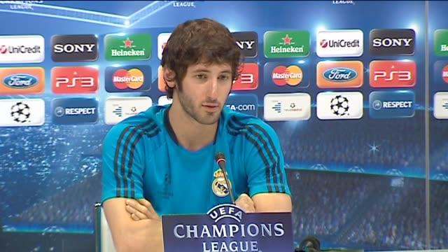 madrid, 24 apr , .- real madrid midfielder esteban granero emphasised his team's motivation and focus for return leg of the champions league... - semifinal round stock videos & royalty-free footage