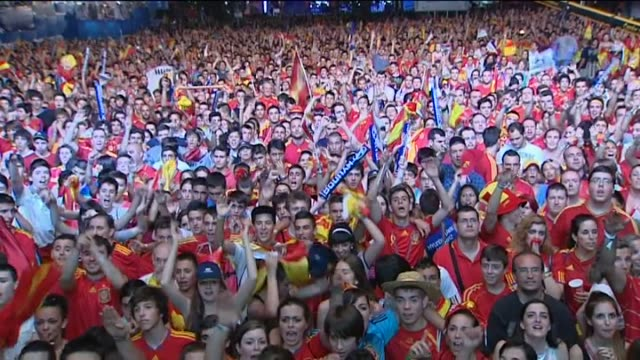Madrid 27 jun Some 35000 screams filled Madrid's main Castellana thoroughfare late Wednesday when Spain's national football team took one step closer...