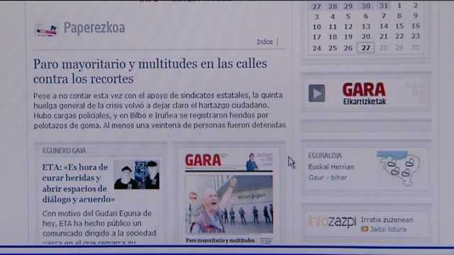 vídeos de stock e filmes b-roll de madrid 27 sep the terrorist group eta released a communique on thursday published in the newspaper gara in which it has called for dialogue with the... - setembro