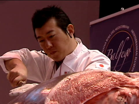 vídeos de stock, filmes e b-roll de manuel unica japanese specialists show how to cut up a 120 kg tuna fish into pieces to taste a traditional 'sashimi' in a stand of the 2012... - sashimi