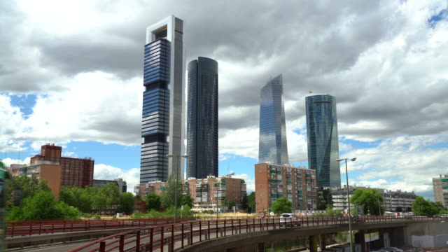 Madrid business district with skyscrapers