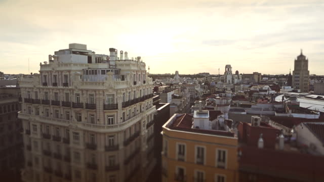 madrid cityscape at dawn - madrid stock videos and b-roll footage
