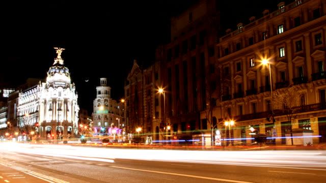 マドリッド gran via タイムラプス - マドリード グランヴィア通り点の映像素材/bロール