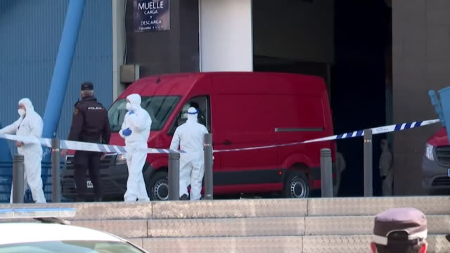 madrid ice rink turned into mortuary with vans arriving carrying victims of the coronavirus - spain stock videos & royalty-free footage