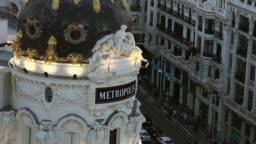 Madrid observation deck Gran Via Metropolis sunset panorama, real time