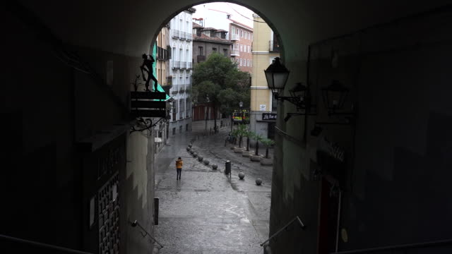 madrid spain on monday march 16 2020 the streets are empty and terraces closed in the central city because of the coronavirus lockdown - spain stock videos & royalty-free footage