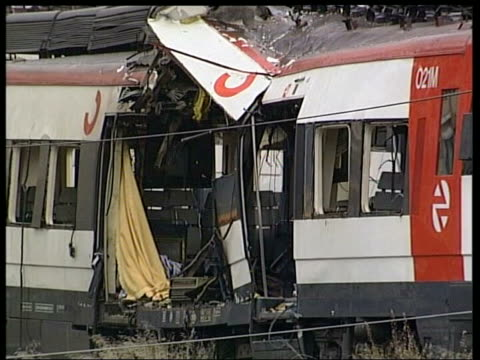 madrid train bombings: 21 people convicted; march 2004 atocha station: wreckage of bomb damaged train - spain stock videos & royalty-free footage