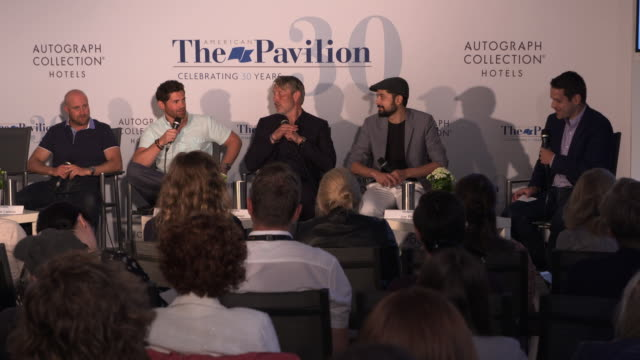 mads mikkelsen and tim zajaros on working with a polar bear, and the importance of keeping it happy at film panel: 'arctic' - the 71st annual cannes... - 第71回カンヌ国際映画祭点の映像素材/bロール