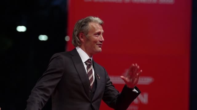 mads mikkelsen arrives on the red carpet ahead of the 'miss marx' screening during the 77th venice film festival on september 05 2020 in venice italy - gif stock videos & royalty-free footage