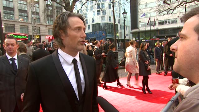 mads mikkelsen at the the clash of the titans at london england - clash of the titans stock videos & royalty-free footage