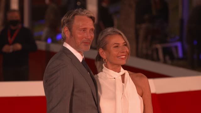 """mads mikkelsen, hanne jacobsen attend the red carpet of the movie """"druk"""" during the 15th rome film festival on october 20, 2020 in rome, italy. - rome film festival stock videos & royalty-free footage"""