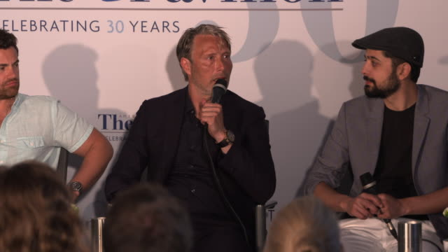 mads mikkelsen on deliberately not developing a back story to his character at film panel: 'arctic' - the 71st annual cannes film festival on may 13,... - 第71回カンヌ国際映画祭点の映像素材/bロール