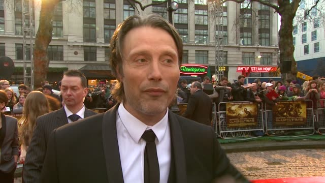 mads mikkelsen on how he's used to playing tough emotional films but how tough it was on set on scorpions on how the group were together constantly... - clash of the titans stock videos & royalty-free footage