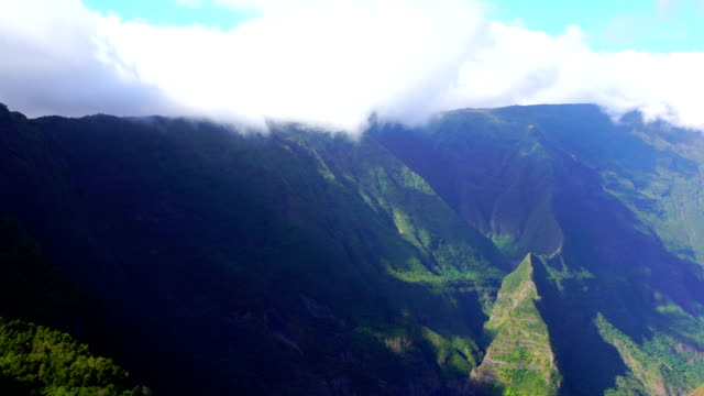 mafate cirque from the mountain crest - reunion island - mafate cirque stock videos & royalty-free footage