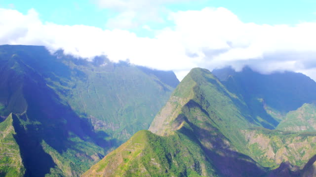 mafate cirque from the mountain crest - reunion island - réunion french overseas territory stock videos & royalty-free footage