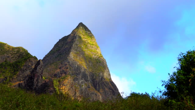 mafate mountains from grand place - reunion island - mafate cirque stock videos & royalty-free footage