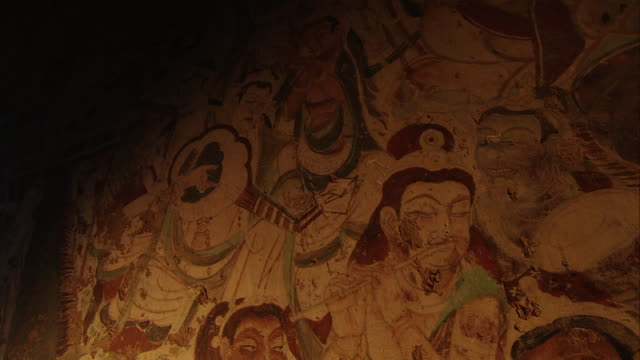 Magao Caves South District The 220th Cave Murals on the North Wall Apsara