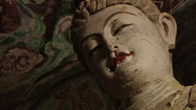 Magao Caves South District The 45th Cave Colored Statues on the Front Bodhisattva Face Close Shot