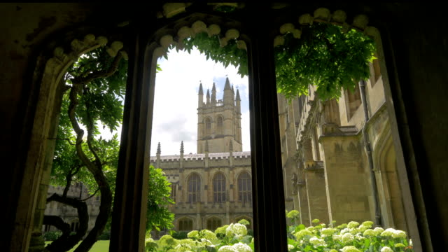 magdalen college,oxford,cloisters,zi, - oxford england stock videos & royalty-free footage