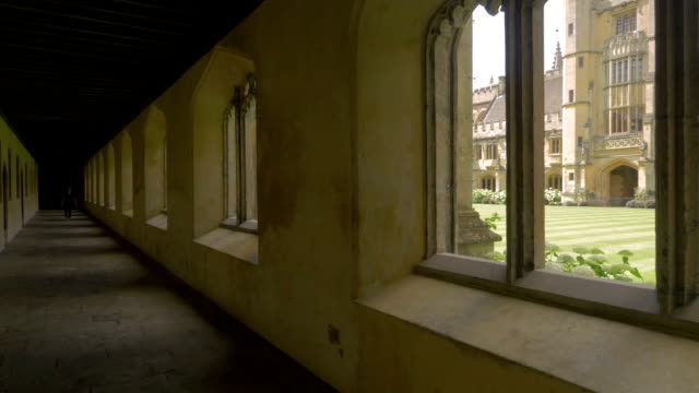 magdalen college,oxford,cloisters,pan - cambridge university stock videos and b-roll footage
