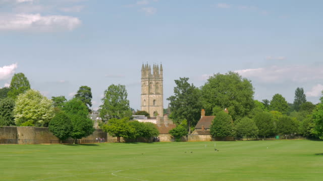 magdalen college,oxford,tower,ws - oxford england stock videos & royalty-free footage