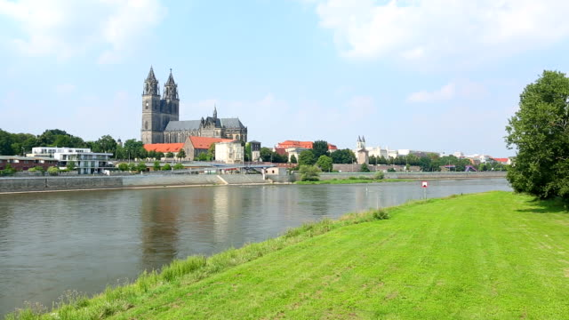 magdeburg with river elbe, camera pan - ship's bridge stock videos & royalty-free footage