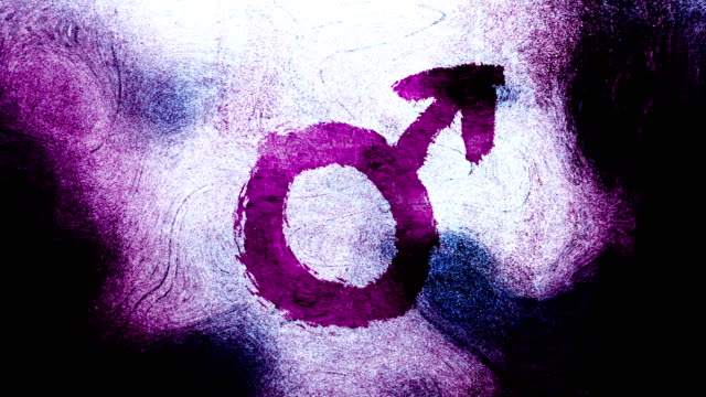 magenta mars, male, gender symbol on a high contrasted grungy and dirty, animated, distressed and smudged 4k video background with swirls and frame by frame motion feel with street style for the concepts of gender equality, women-social issues - gender symbol stock videos & royalty-free footage
