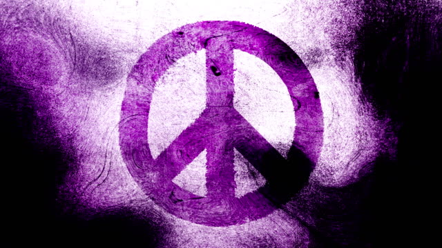 Magenta peace symbol on a high contrasted grungy and dirty, animated, distressed and smudged 4k video background with swirls and frame by frame motion feel with street style for the concepts of peace, world peace, no war, protest, and tranquility