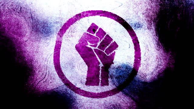Magenta raised fist symbol on a high contrasted grungy and dirty, animated, distressed and smudged 4k video background with swirls and frame by frame motion feel with street style for the concepts of solidarity,support,human rights,worker rights,strength