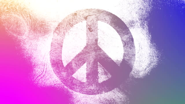 Magenta to purple peace symbol on a high contrasted grungy and dirty,animated,distressed and smudged 4k video background with swirls and frame by frame motion feel with street style for the concepts of peace, world peace, no war, protest, and tranquility