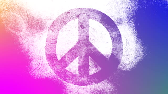 Magenta to purple symbol on a high contrasted grungy and dirty, animated, distressed and smudged 4k video background with swirls and frame by frame motion feel with street style for the concepts of peace, world peace, no war, protest, and tranquility