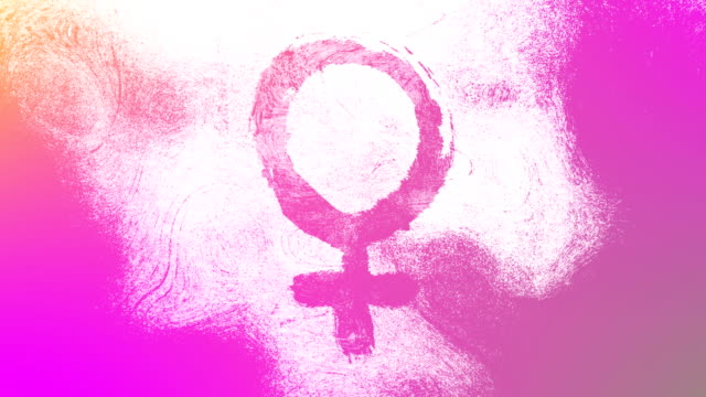 Magenta Venus, female, gender symbol on a high contrasted grungy and dirty, animated, distressed and smudged 4k video background with swirls and frame by frame motion feel with street style for the concepts of gender equality, women-social issues
