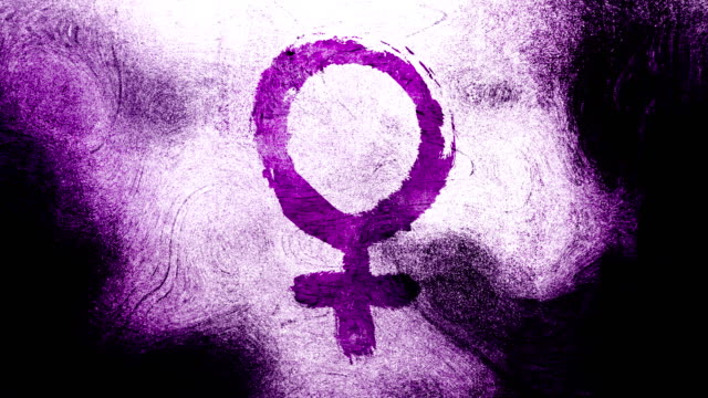 magenta venus, female, gender symbol on a high contrasted grungy and dirty, animated, distressed and smudged 4k video background with swirls and frame by frame motion feel with street style for the concepts of gender equality, women-social issues - gender symbol stock videos and b-roll footage