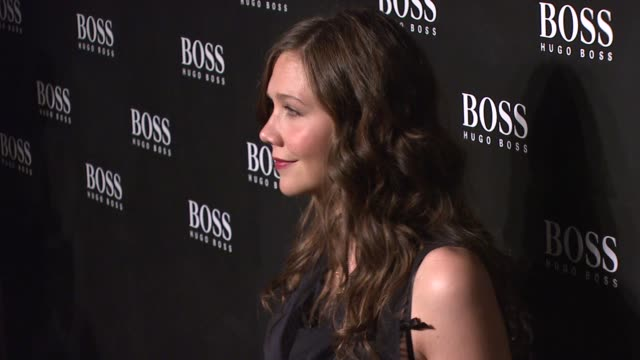 maggie gyllenhaal at the hugo boss hosts boss black fashion show at cunard building in new york, new york on october 17, 2007. - hugo boss stock videos & royalty-free footage