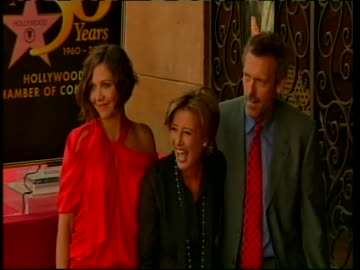 maggie gyllenhaal, emma thompson and hugh laurie at the hollywood walk of fame, on the day actress emma thompson received her star. british star emma... - hugh laurie stock videos & royalty-free footage