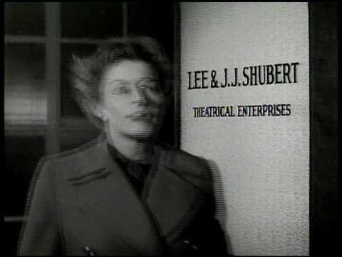 vídeos de stock e filmes b-roll de maggie' walking into office of aldrich and meyers. sign 'no casting' 'maggie' walking into office of lee & jj shubert. sign 'no casting' 'maggie'... - 1949