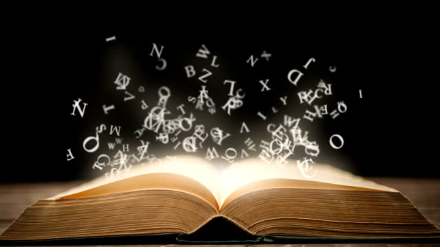 magic libro con animazione luminosa lettere - immaginazione video stock e b–roll